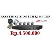 PAKET HIKVISION 4 CH 1,0 MP 720p